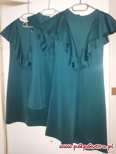 Trapezowe sukienki z falbankami. Model 0844